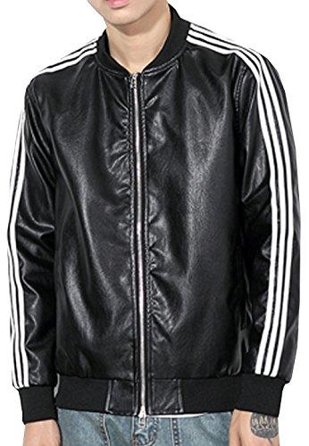 SWORLD Men's Soccer Jackets Stripe decoration Leather Zipper - Varsity Jacket Soccer