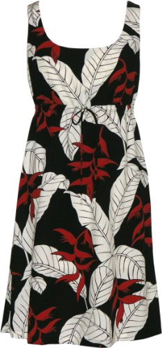 Ginger In Black Dress (RJC Womens Ginger Heliconia Jungle Empire Tie Front Short Tank Dress in Black - 3X Plus)
