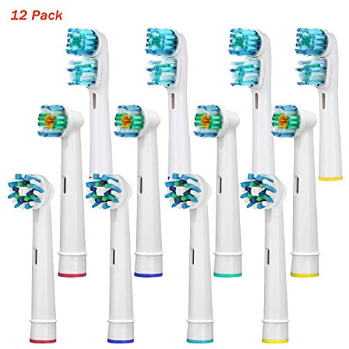(Replacement Toothbrush Heads Compatible Oral B Braun, 12 Pack Professional Electric Toothbrush Heads Sensitive Clean Brush Heads Refill for Oral-B 7000/Pro 1000/9600/ 500/3000/8000 (12PACKS-01))
