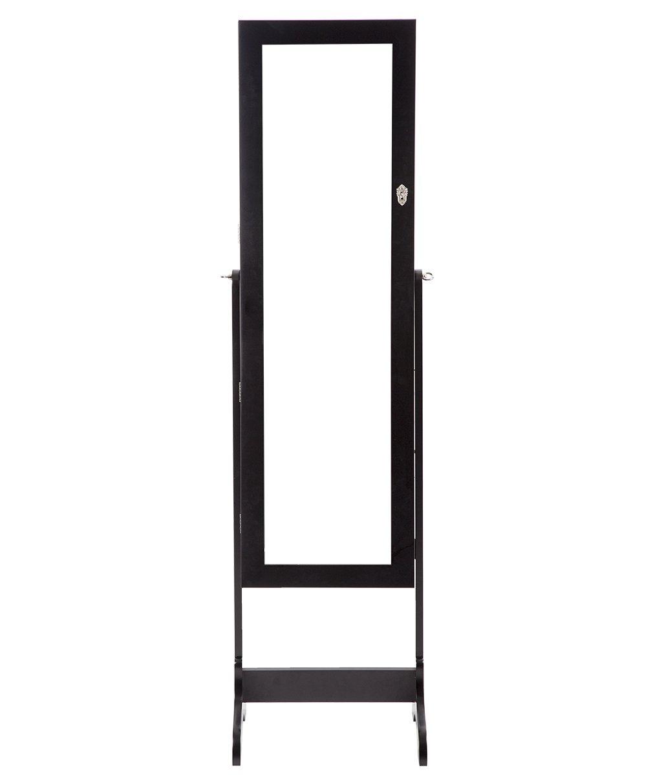 Jewelry Cabinet with Mirror 2 Drawers Lockable Standing Storage Best Massage