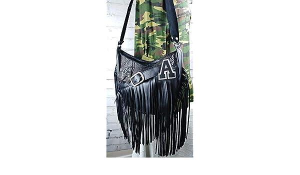 Bolso Negro de Flecos Custom Estilo Rockero: Amazon.es: Handmade