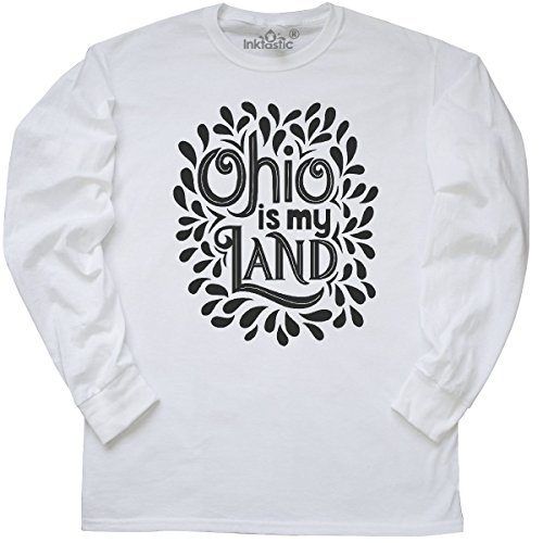 inktastic - Ohio is My Land Hand Lettered Long Sleeve T-Shirt Large White 2dcd1