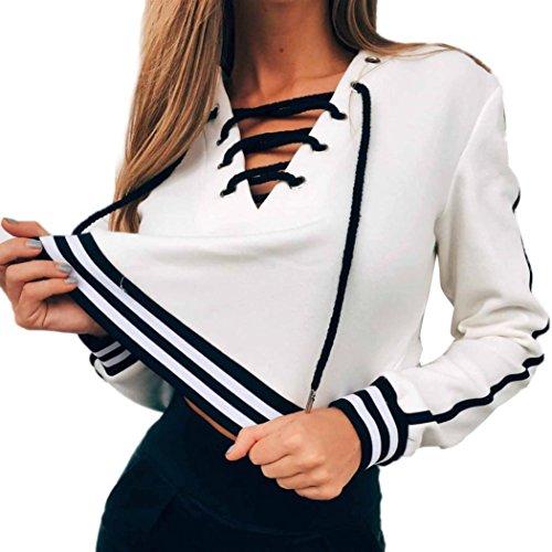 Jumper Trim (BSGSH Women Lace Up V-Neck Striped Trim Sweatshirt Jumper Long Sleeve Casual Pullover Crop Tops (XL, White))