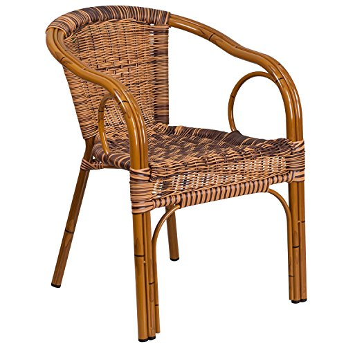 Plastic Patio Arm Chair - Flash Furniture Cadiz Series Burning Brown Rattan Restaurant Patio Chair with Dark Red Bamboo-Aluminum Frame