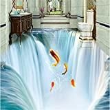LHDLily 3D Wallpaper Mural Wall Sticker Thickening Custom Waterfall Water Floor Tiles Three-Dimensional 300cmX200cm