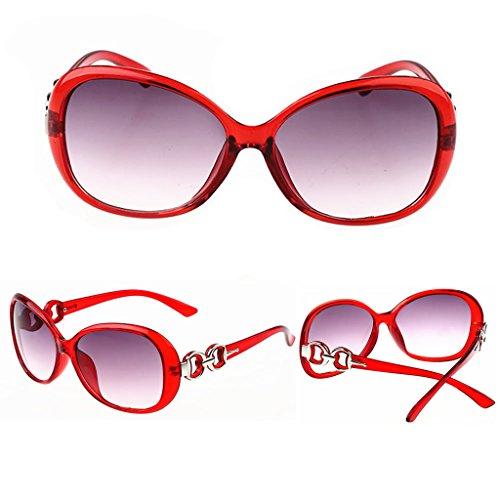 Lamdoo Shades Soleil Surdimensionné Classique 141mm Violet Hot Frame Design Lunettes Red Femme Rétro Vintage Width De 48x4w1rq
