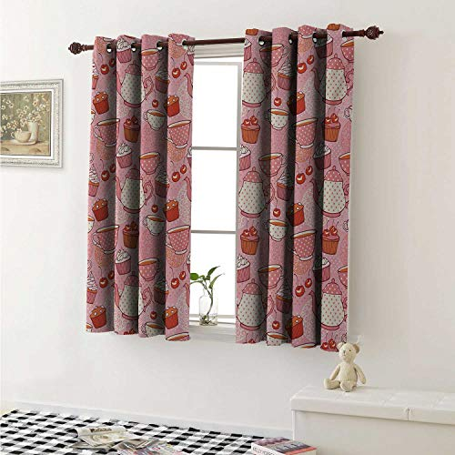 shenglv Cartoon Customized Curtains Teapots Cups with Polka Dots Patterns Cherries Cakes Tea Coffee Pattern Curtains for Kitchen Windows W63 x L45 Inch Pink Orange and -