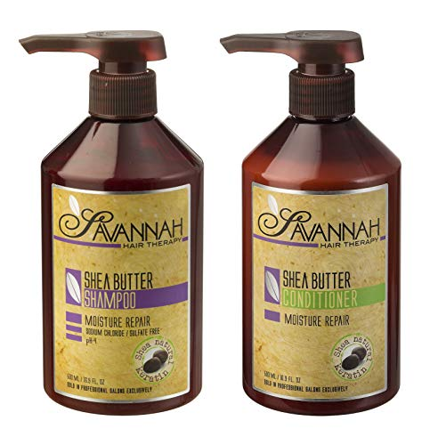 Savannah Hair Therapy Shampoo & Conditioner SET - Moisture Repair Treatment - Shea Butter, Cotton and Silk Protein and Vitamin B6 - For Dry and Damaged Hair. Sodium Chloride and Sulfate Free. 16.9 oz (Shampoo Therapy Moisture Free)