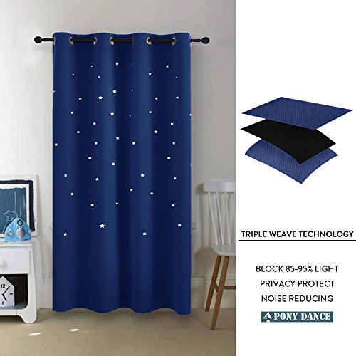 PONY DANCE Navy Stars Curtains - Home Decoration Room Darkening Die Cut Star Blackout Curtain Magical Drapes Grommet Top Kids Nursery Rooms, 52'' Wide 63'' Long, Navy Blue, One Pair by PONY DANCE (Image #4)