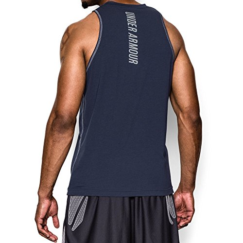 Under Armour Men's Charged Cotton Jus Sayin Too Tank, Midnight Navy/Steel, Small