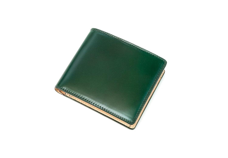 【CIMABUE】アニリンコードバン 2つ折り財布小銭入れ付き【レーデルオガワ製】 B076ZJYFSJグリーン