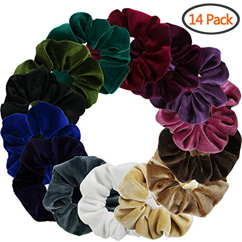 Velvet Hair Scrunchies, Yogaily 14 Pack Elegant Bobble Hair Elastics Soft Donut Hair Bands Ties, 14 Colors Scrunchy for Women Girls (14 Colors) by Yogaily