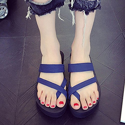 Per Zhangrong Blu Colore Rotonda Casual Punta Rosa uk6 Pu Eu39 Nero Tacco Comfort Pantofole Dimensioni Da Donna Piatto cn39 Estate Scarpe rqCwAPr