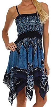 Sakkas A64 Batik Handkerchief Hem Tunic Short Dress - Navy / Sky - One Size