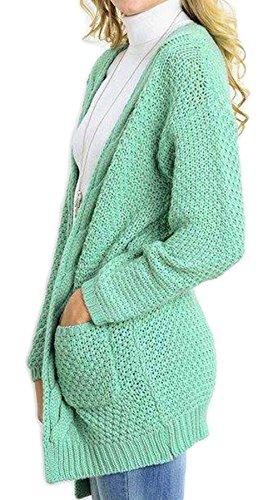 Mode Verde Giaccone Baggy Vita Maglia Anteriori Confortevole Donna Monocromo Marca Tasche Alta Maglieria Autunno Bolawoo Pullover Giorno Lunga Outerwear Elegante A Giacca Di Manica MVpSqUz