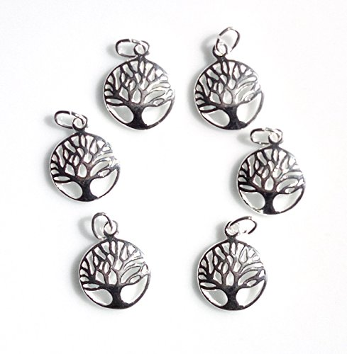 6 Qty. Tree of Life Charm .925 Sterling Silver by JensFindings
