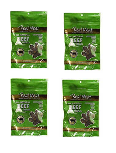 (The Real Meat Company 4 Pack of Beef Jerky Dog Treats, 4 Ounces each, Made in the USA)
