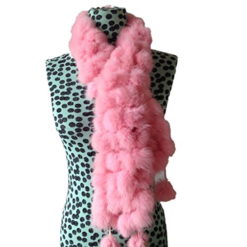 DZT1968(TM) Newest Women Winter Warm Real Rabbit Fur Scarf Ball Velvet Rabbit Style (C)