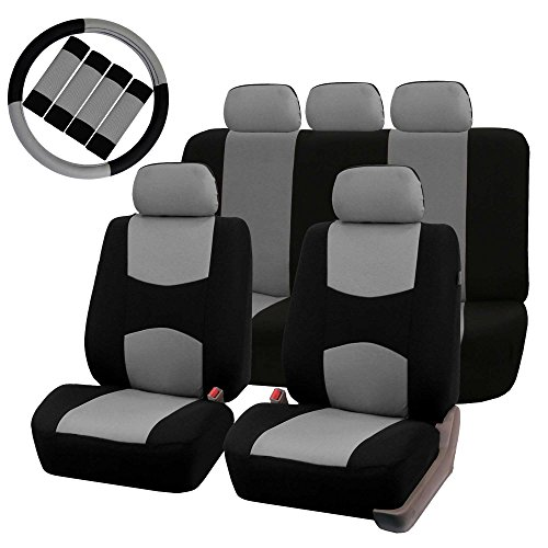 (FH GROUP FH-FB051115 Multifunctional Flat Cloth Seat Covers (Airbag compatible & Split) W. FH2033 Steering Wheel Cover and Seat Belt Pads, Gray / Black Color)