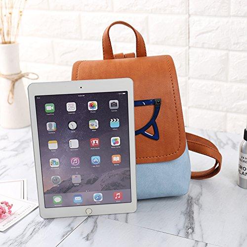 Backpack Mini Blue PU Bag Daypack Leather Fashion School Women Backpack Girls Small Casual qPTARAv