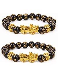 2 Pcs Pi Xiu Bracelet Feng Shui Black Obsidian Wealth Bracelet for Women Men Adjustable Elastic