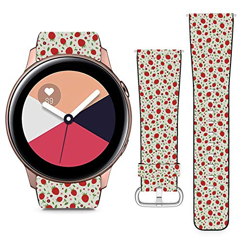 Compatible with Samsung Galaxy Watch Active // 20mm Leather Replacement Bracelet Strap Wristband with Quick Release Pins // Ripe Strawberries Red ()