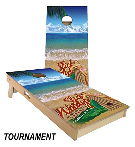 Slick Woody's Bikini Surf Cornhole Board Set 4' by 2' Tournament size by Slick Woody's Cornhole Co.