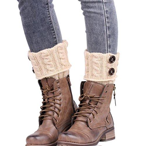 Winter Socks, Egmy Knitting Socks Leg Warmers Boot Cover Keep Warm Socks (Beige) from Egmy
