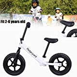 Iglobalbuy 12'' Kids No-Pedal Balance Bike Classic with Adjuable Seat 100lbs Capacity White