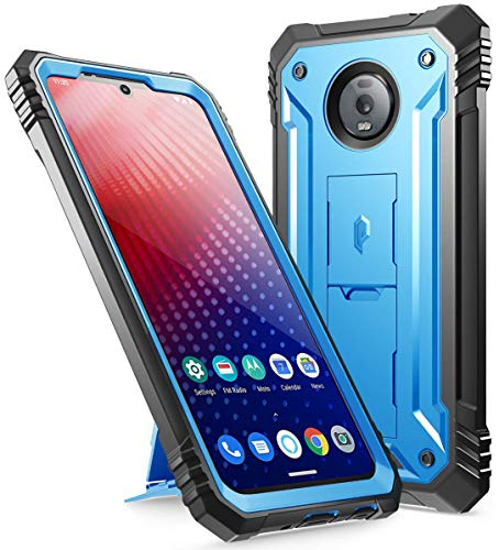 Moto Z4 Rugged Case with Kickstand, Poetic Full-Body Dual-Layer Shockproof Protective Cover, Built-in-Screen Protector, Revolution Series, Defender Case for Motorola Moto Z4 (2019 Release), Blue