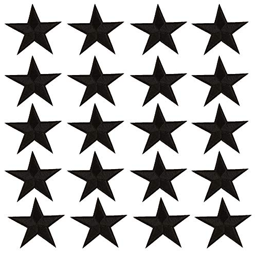 - Star Iron On Patches Sew On Embroidered Badge Applique Patch with Star Motif Applique Stickers DIY for Shoes,Hats,Clothes(20 Pcs Black Star)