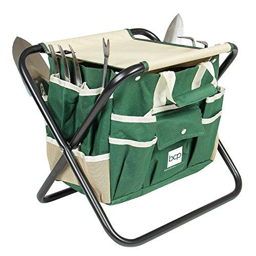 allgoodsdelight365 7 Piece Garden Tool Set Folding Stool W/Tool Bag & 5 Stainless Steel Tools Bonus free ebook By by allgoodsdelight365