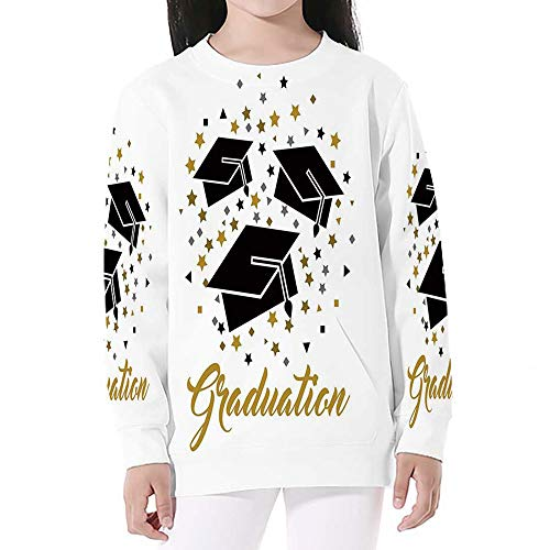 Graduation Decor,Crewneck Sweatshirts Long Sleeve Sweatshirt Pullover