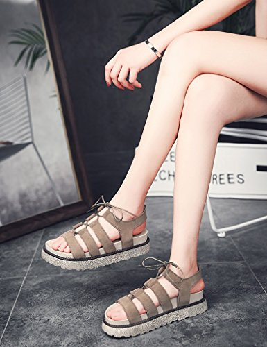 Female Sandals Bottom toe Flat Color 38 ZCJB Khaki Casual Thick Size Shoes Shoes Open Bottom Flat Khaki Roman Female Summer YXFrqPY