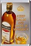 """Aimant de réfrigérateur avec motif bouteille de whisky et 2 verres et inscription """"Keep Calm And Have A Whisky"""" Un cadeau unique pour un amateur de whisky irlandais."""