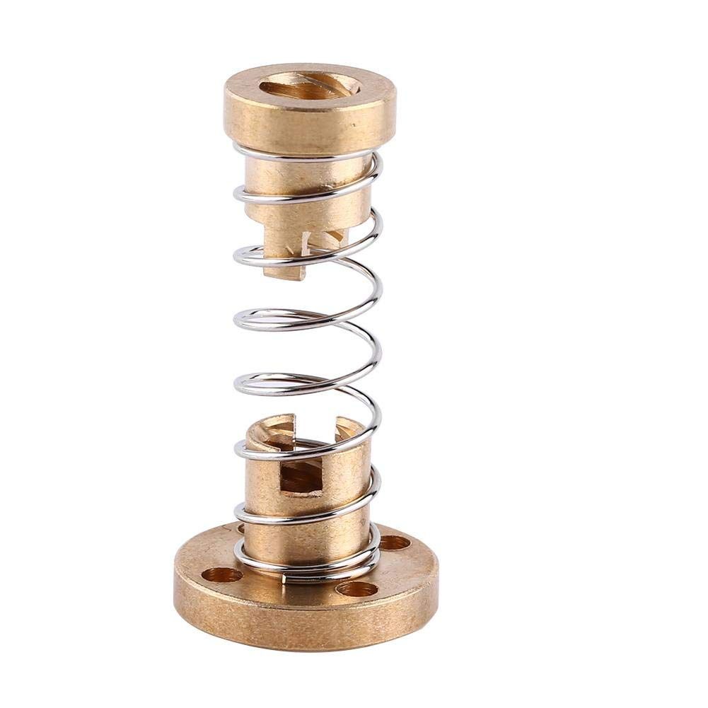 Spring Loaded Nut, Anti-Backlash Spring Loaded Elimination Gap Nut Brass for T8 Threaded Rod Lead Screw 3D Printer Part - DIY Engraving Machine, 3D Printer Preferred