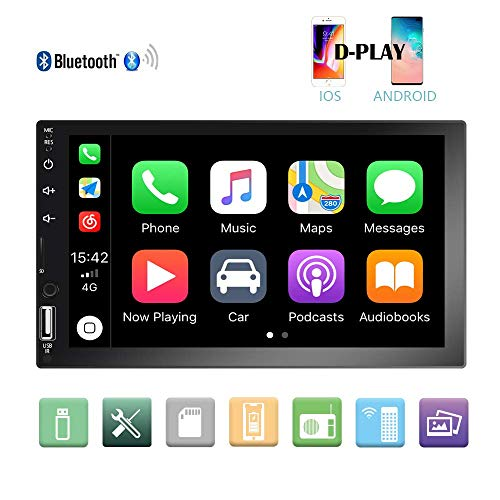 Camecho Double Din Car Stereo 7'' 1080P HD Touch Screen D-Play Universal  Car Multimedia Player Support Android and iOS Mirror Link with