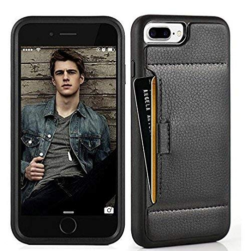 ZVE Wallet Case for Apple iPhone 8 Plus and iPhone 7 Plus, 5.5 inch, Slim Leather Wallet Case with Credit Card Holder Slot Pocket Protective Case Cover for Apple iPhone 7/8 Plus - Black