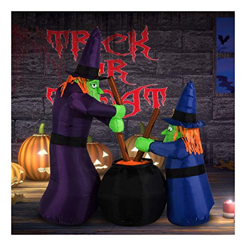 (6FT Halloween Inflatable Airblown Bubble Witches Light Yard Outdoor)