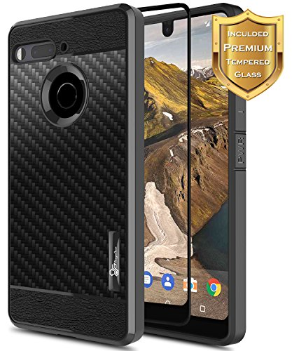 Essential Phone PH-1 Case with [Full Coverage Tempered Glass Screen Protector], NageBee [Frost Clear] [Carbon Fiber] Slim Soft TPU Protective Case For Essential Phone PH-1 (Black)