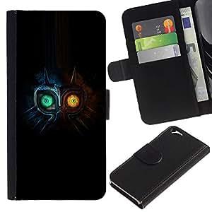 EJOY---Tirón de la caja Cartera de cuero con ranuras para tarjetas / Apple Iphone 6 / --Dos búho Faced