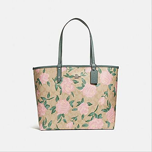 COACH REVERSIBLE CITY TOTE WITH CAMO ROSE FLORAL PRINT STYLE, - Camouflage Handbags Coach