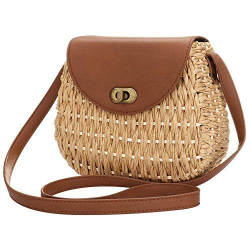 (Straw Rattan Crossbody Bag for Women,Beach Bag Woven Straw Crossbody Wicker Purse with Genuine Leather)