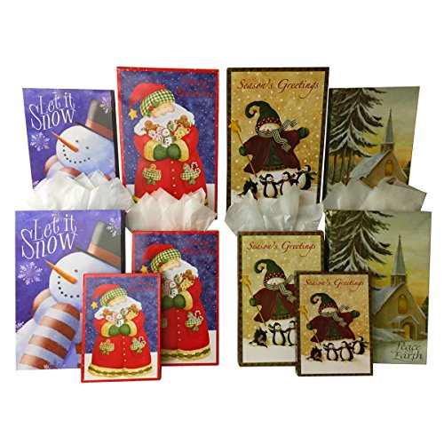 Set of 10 Christmas Gift Boxes + Tissue Paper, Robe Boxes, Shirt Boxes, and Lingerie Boxes (10 Gift Boxes, Country Christmas) - Cheap Shirt Boxes