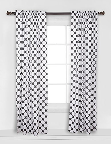 Bacati - Dots/pin Stripes Black Large Dots Curtain - Single Grey Stripe