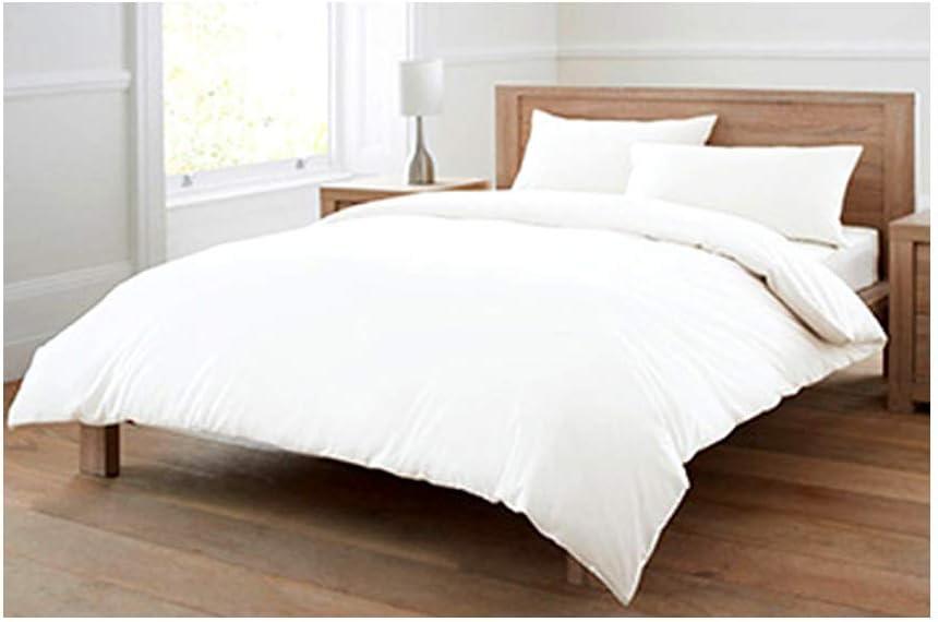 Juego de cama de 4 piezas de algodón egipcio al 100%, marca Euphoric Bedding - Incluye 1funda de edredón, 2fundas de almohada y 1sábana bajera, color blanco puro, 100% algodón, Blanco, Doublé