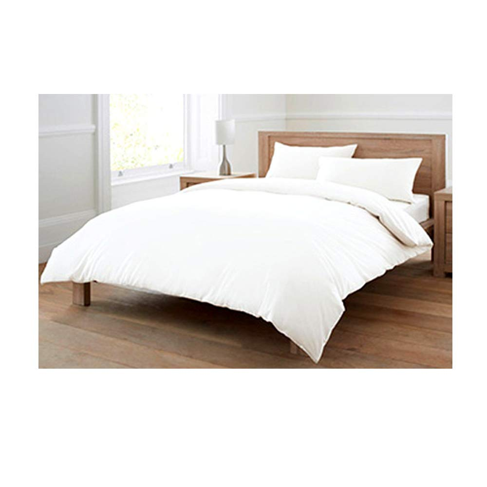 100% Pure Cotton (Egyptian Cotton) Plain White 4 Piece Complete Duvet Bed Set