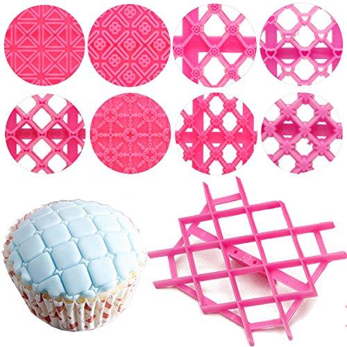 wiwanshop 9pcs Sugarcraft Cupcake Fondant Cake Embosser Tool Cutter Icing Decorating Mould