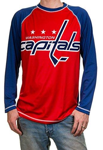 NHL Mens Performance Long-Sleeve Rash Guard (Washington Capitals, X-Large)