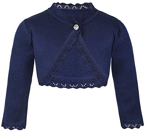 Lilax Baby Girls' Knit Long Sleeve Button Closure Bolero Cardigan Shrug 6-9 Months Navy
